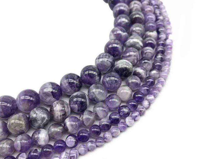 Perles rondes en améthyste chevron 12mm