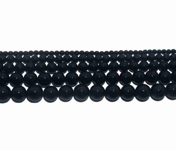 Perles rondes en agate noire 12mm