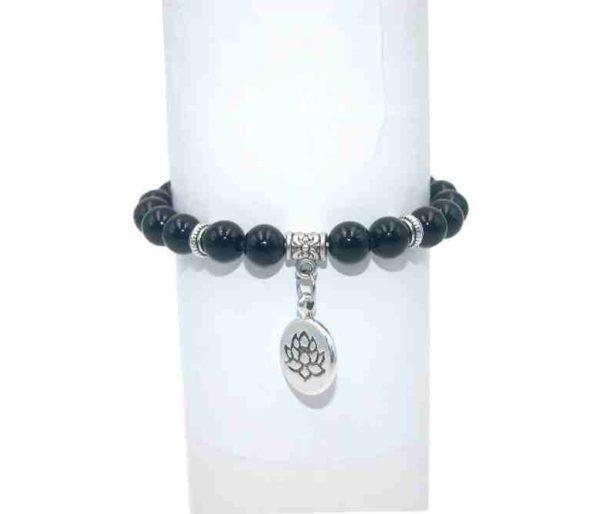 Bracelet Agate noire Perles 8mm