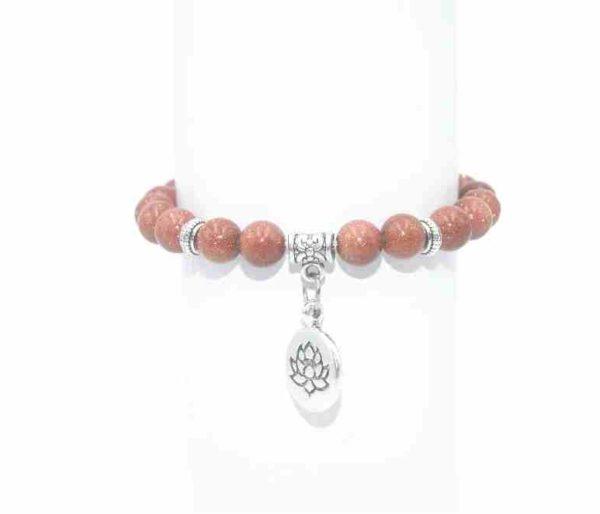 Bracelet Goldstone rouge Perles 8mm