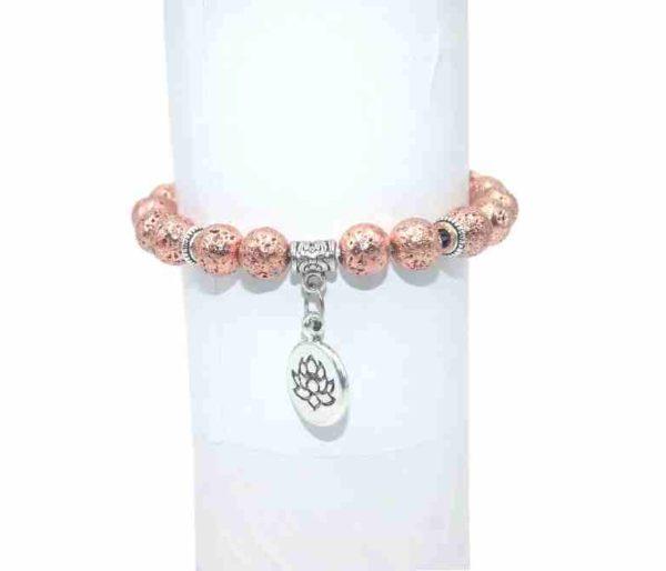 Bracelet Pierre de lave rose doré Perles 8mm