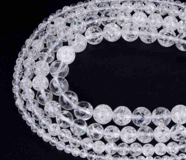 Perles craquelées en cristal de roche 8mm