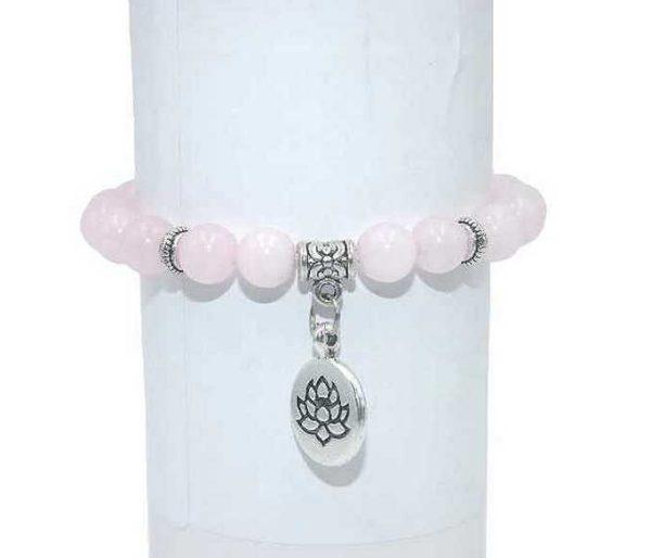 Bracelet Quartz rose Perles 8mm