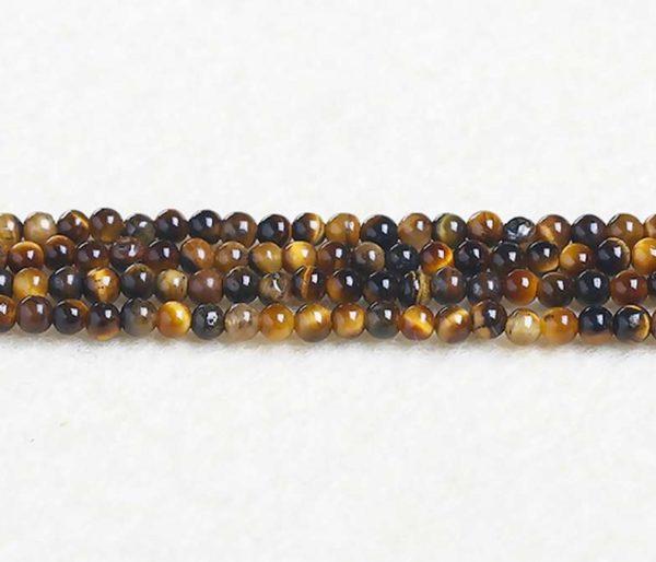 Perles rondes en oeil de tigre 4mm