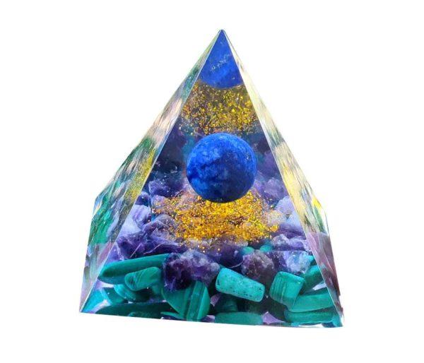 Pyramide orgonite avec Malachite et Lapis-lazuli