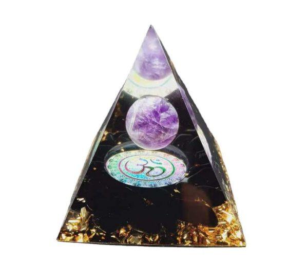 Pyramide orgonite avec Obsidienne et Améthyste